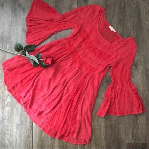 Pretty Deep Coral Gauzy Cotton Dress!